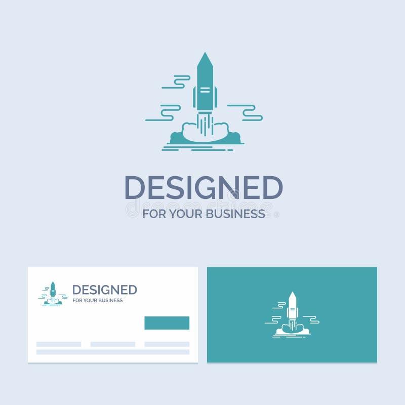 lance, publique, App, lanzadera, negocio Logo Glyph Icon Symbol del espacio para su negocio Tarjetas de visita de la turquesa con ilustración del vector