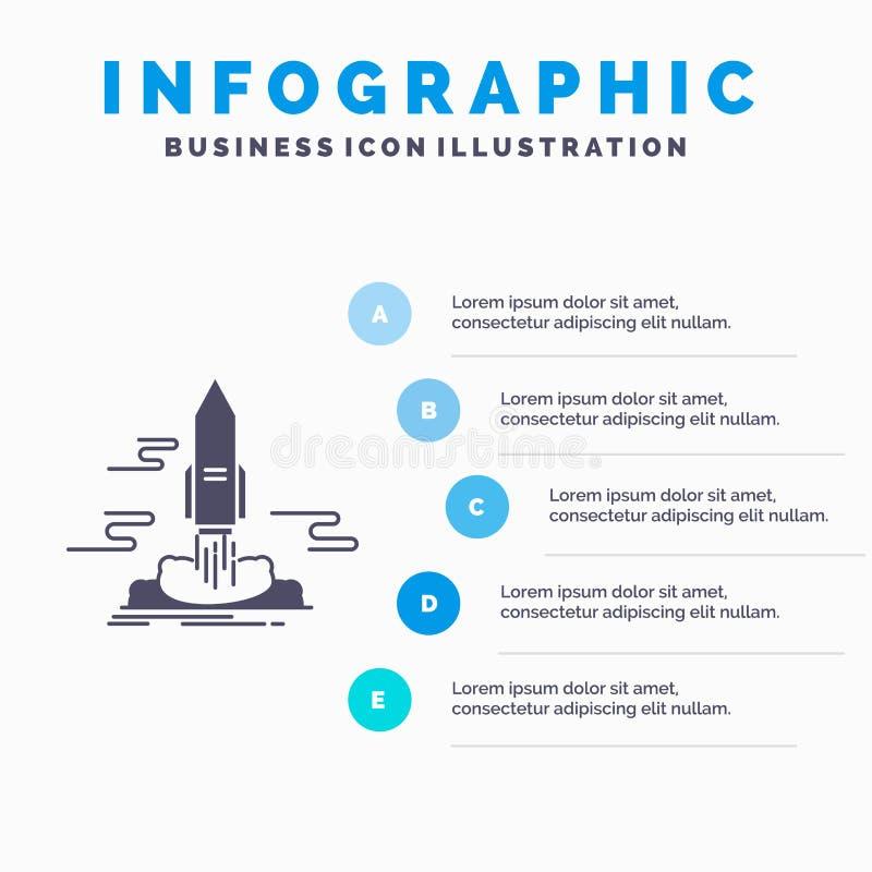 lance, publique, App, lanzadera, plantilla de Infographics del espacio para la p?gina web y presentaci?n Icono gris del GLyph con ilustración del vector