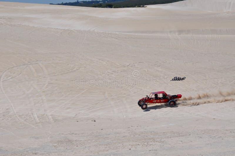 Lancelin与沙地汽车的沙丘在西澳州 库存图片