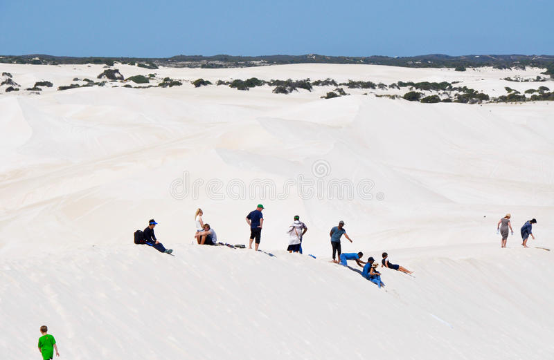 Lancelin Dunes: Tourists and Desert Landscape royalty free stock photography