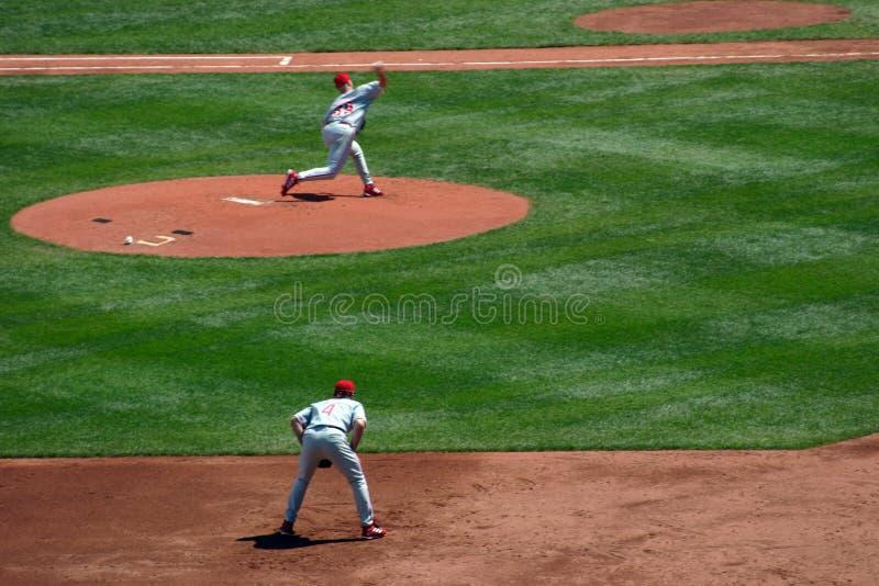 Lancement de base-ball image libre de droits
