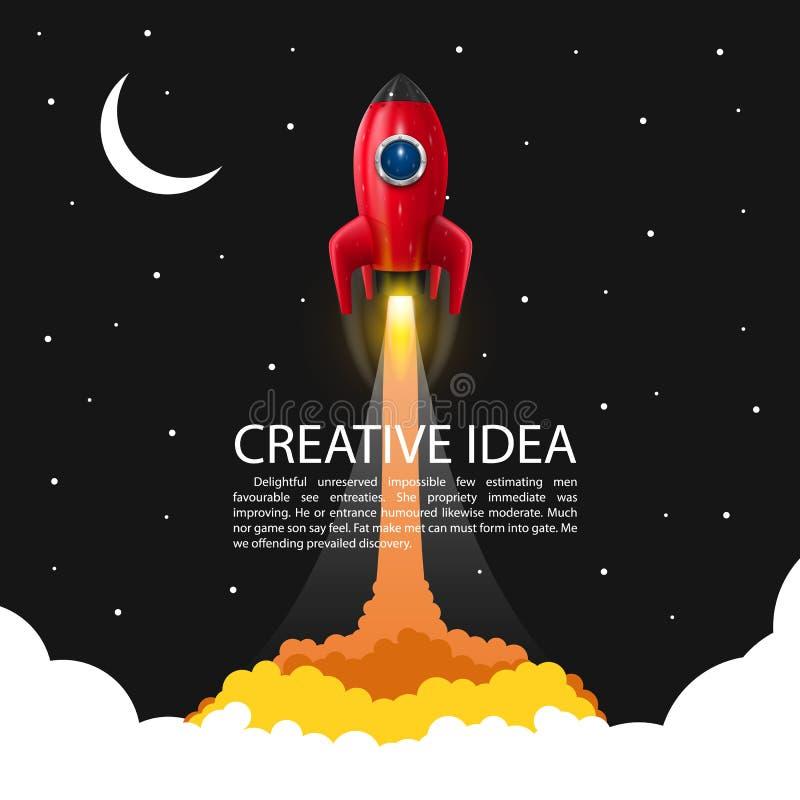Lancement de fusée d'espace illustration stock