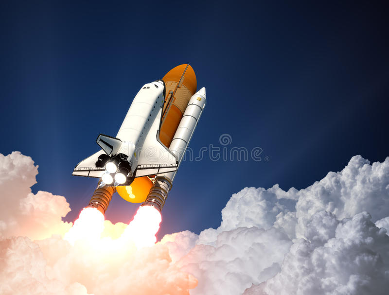 Lancement de navette spatiale 3d illustration stock