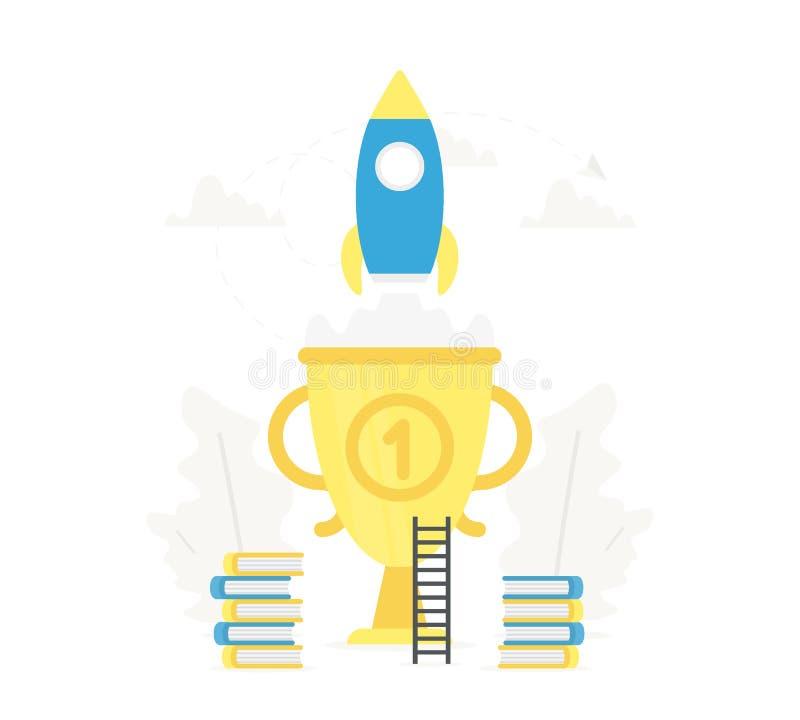 Lancement de Rocket au ciel du grand trophée d'or Commencez le concept et l'étude d'Internet Livre, enseignement, la connaissance illustration de vecteur