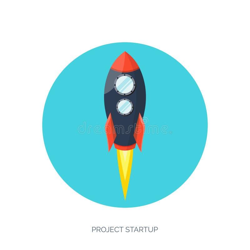 Lancement plat de vaisseau spatial de fusée Développement de démarrage de concept et de projet Exploration d'espace illustration de vecteur