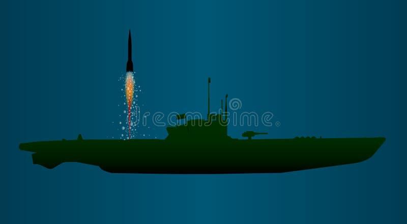 Lancement sous-marin de missile illustration stock