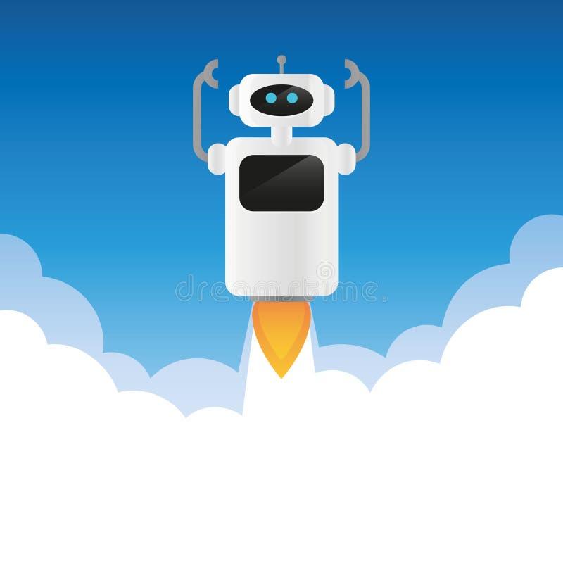 Lancements de robot dans l'espace avec de la fumée illustration de vecteur