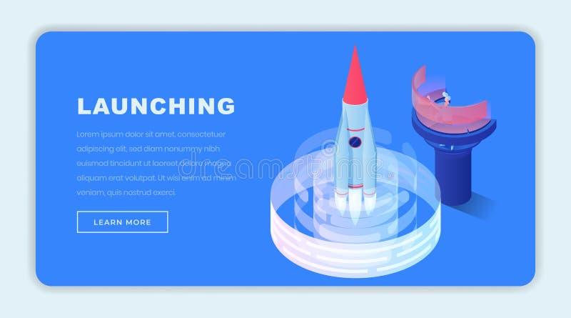 Lancerend bedrijfs isometrisch landingspaginamalplaatje Navigatieexploitant, ingenieur die 3d raket verzenden naar ruimte aanvang stock illustratie