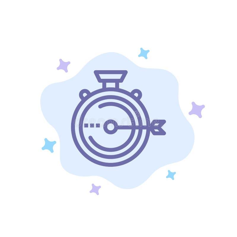 Lancering, Beheer, Optimalisering, Versie, Chronometer Blauw Pictogram op Abstracte Wolkenachtergrond stock illustratie