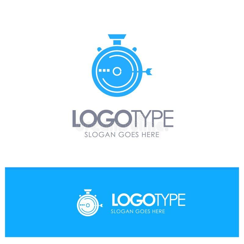 Lancering, Beheer, Optimalisering, Versie, Chronometer Blauw Stevig Embleem met plaats voor tagline stock illustratie
