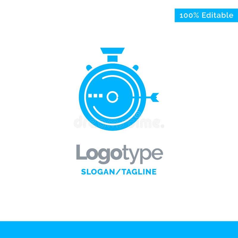 Lancering, Beheer, Optimalisering, Versie, Chronometer Blauw Stevig Logo Template Plaats voor Tagline stock illustratie