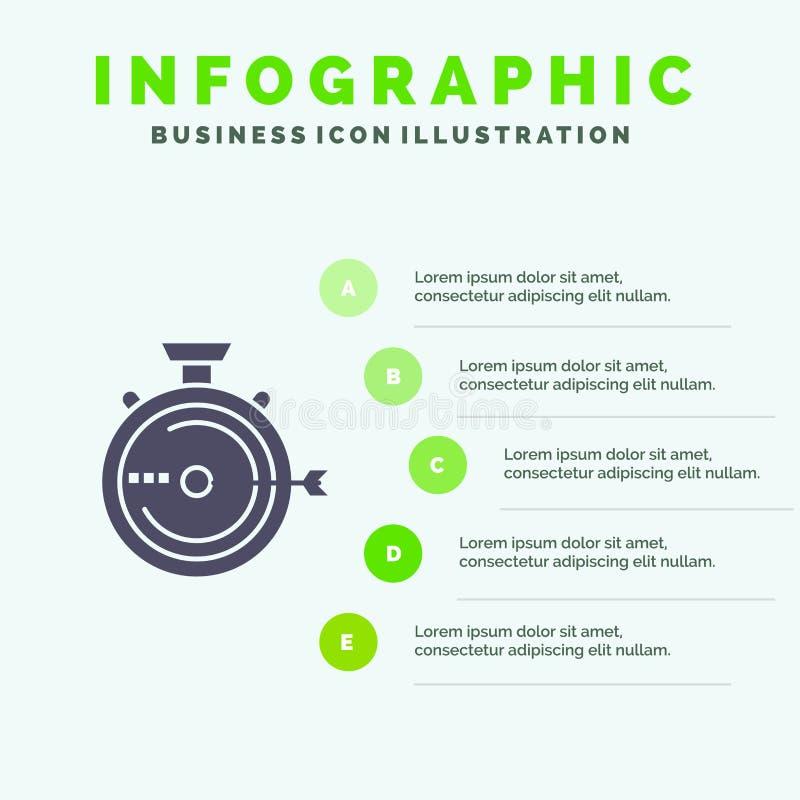 Lancering, Beheer, Optimalisering, Versie, Chronometer Stevig Pictogram Infographics 5 de Achtergrond van de Stappenpresentatie royalty-vrije illustratie
