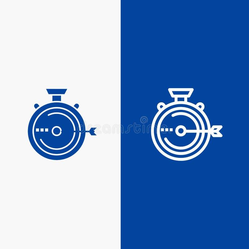 Lancering, Beheer, Optimalisering, Versie, Chronometerlijn en Lijn van de het pictogram Blauwe banner van Glyph de Stevige en Ste stock illustratie