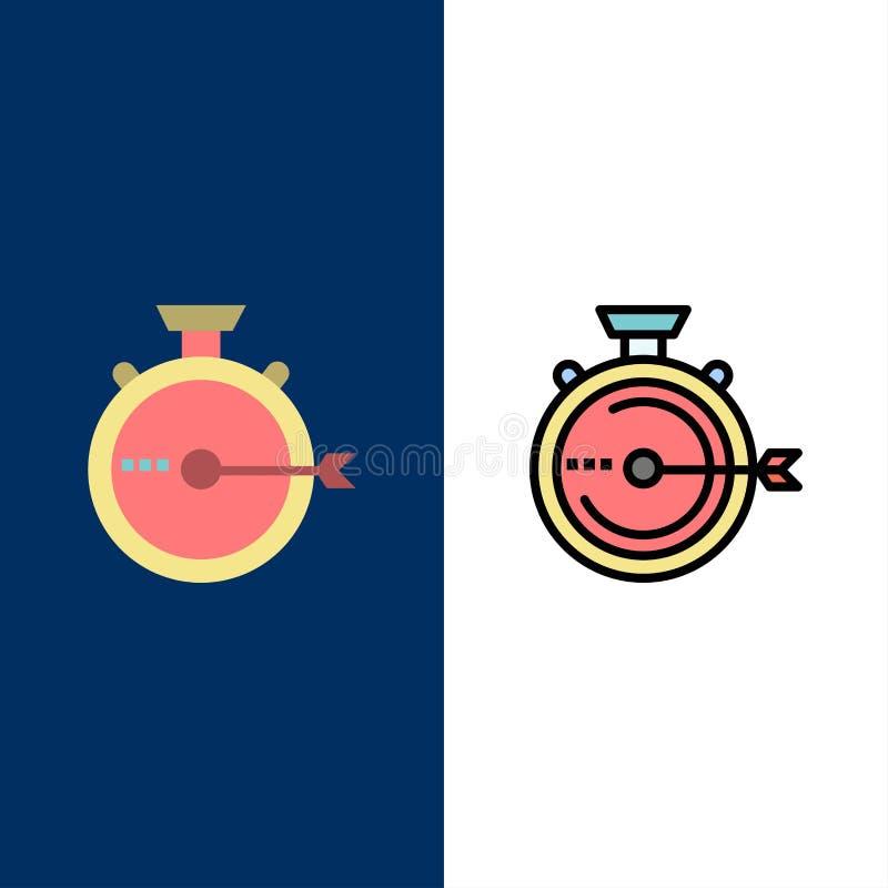 Lancering, Beheer, Optimalisering, Versie, Chronometerpictogrammen Vlak en Lijn vulde Pictogram Vastgestelde Vector Blauwe Achter royalty-vrije illustratie