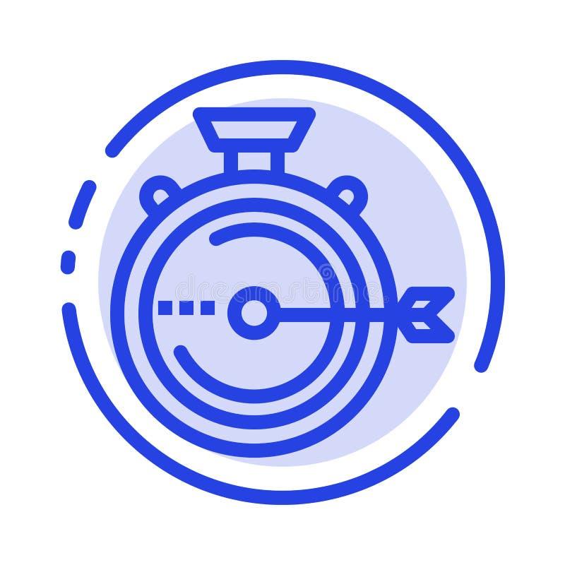 Lancering, Beheer, Optimalisering, Versie, de Lijnpictogram van de Chronometer Blauw Gestippelde Lijn vector illustratie