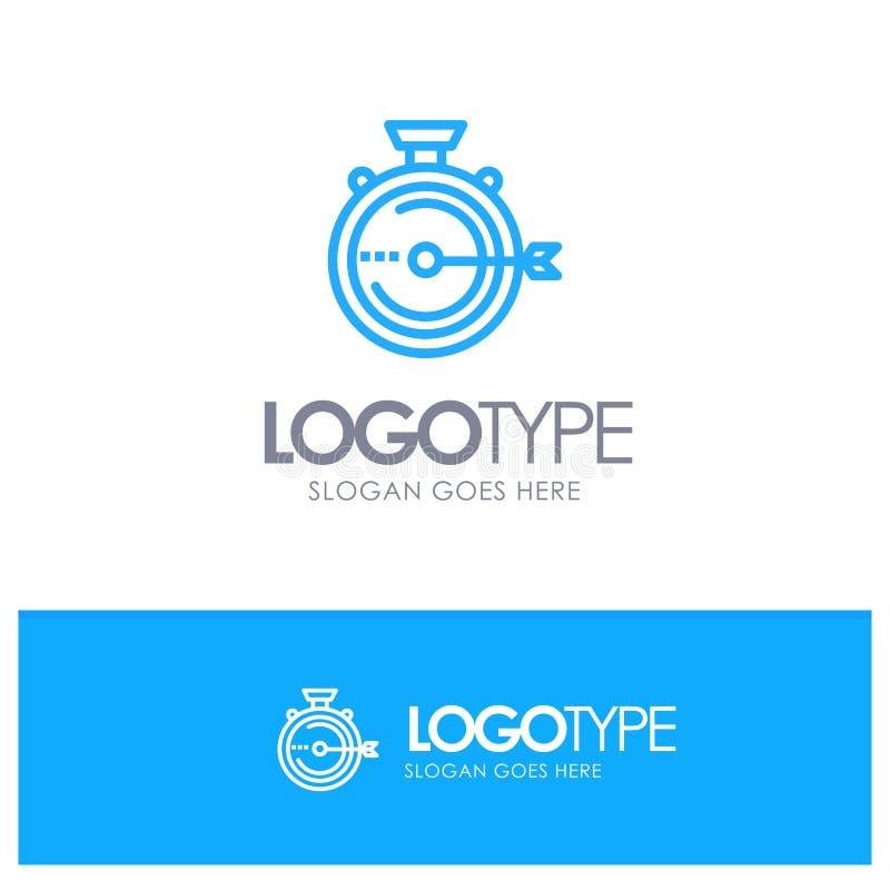 Lancering, Beheer, Optimalisering, Versie, Embleem van het Chronometer het Blauwe overzicht met plaats voor tagline vector illustratie