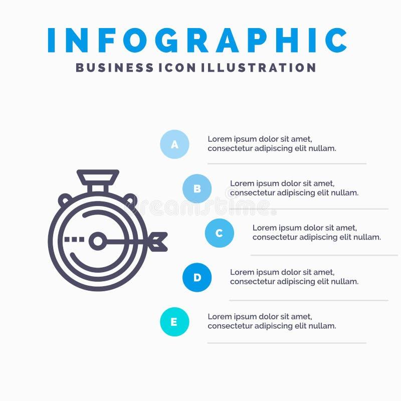 Lancering, Beheer, Optimalisering, Versie, het pictogram van de Chronometerlijn met infographicsachtergrond van de 5 stappenprese royalty-vrije illustratie
