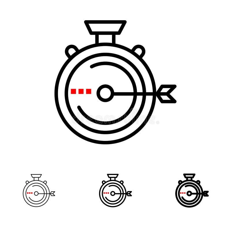 Lancering, Beheer, Optimalisering, Versie, het pictogramreeks van de Chronometer Gewaagde en dunne zwarte lijn vector illustratie