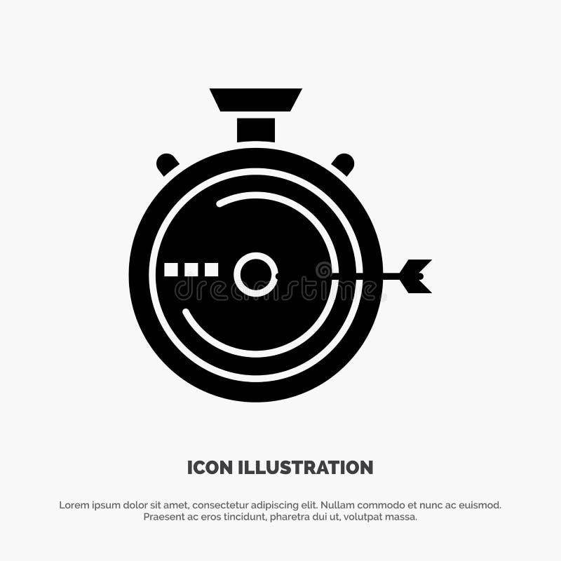Lancering, Beheer, Optimalisering, Versie, het Pictogramvector van Chronometer stevige Glyph vector illustratie