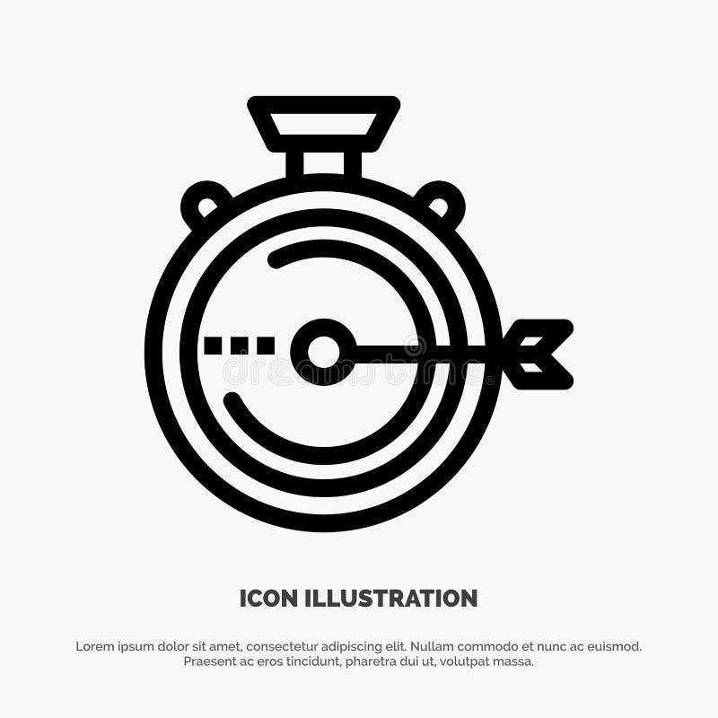 Lancering, Beheer, Optimalisering, Versie, het Pictogramvector van de Chronometerlijn stock illustratie
