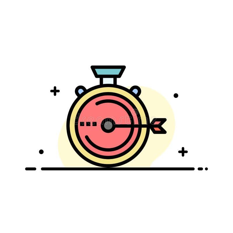 Lancering, Beheer, Optimalisering, Versie, Malplaatje Chronometer van de Bedrijfs het Vlakke Lijn Gevulde Pictogram Vectorbanner stock illustratie