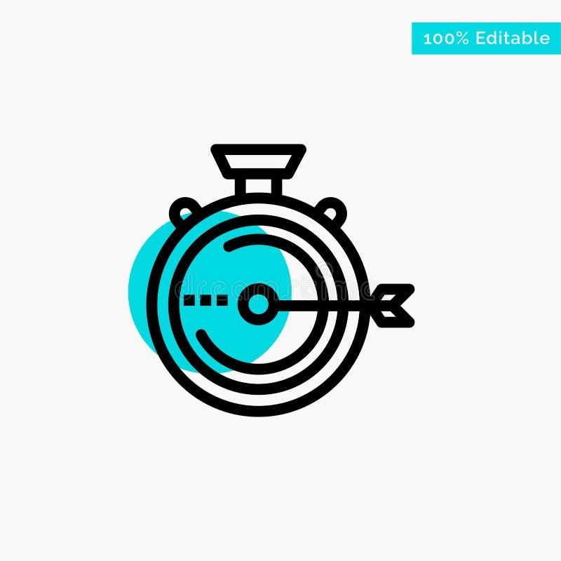 Lancering, Beheer, Optimalisering, Versie, van het de cirkelpunt van het Chronometer het turkooise hoogtepunt Vectorpictogram royalty-vrije illustratie
