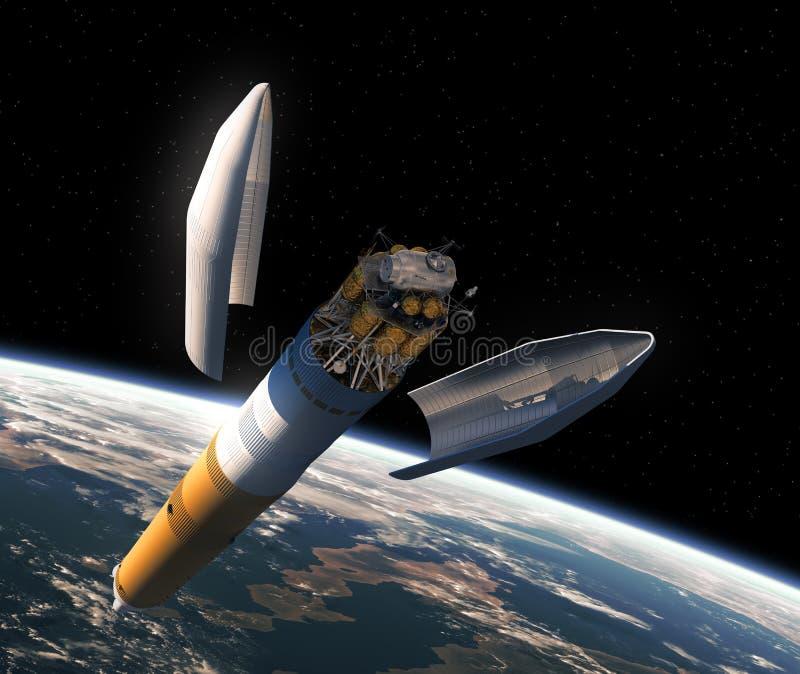 Lancering van Interplanetair Ruimtestation royalty-vrije illustratie