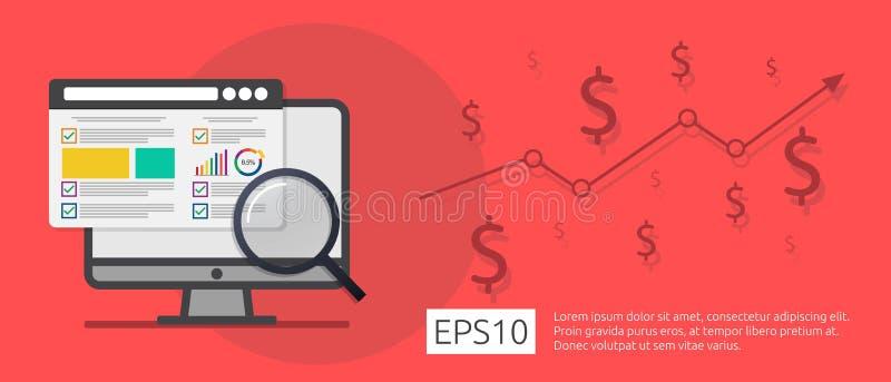 lancez la stratégie de recherche sur le marché d'affaires, interdiction de développement d'analyse de données illustration libre de droits