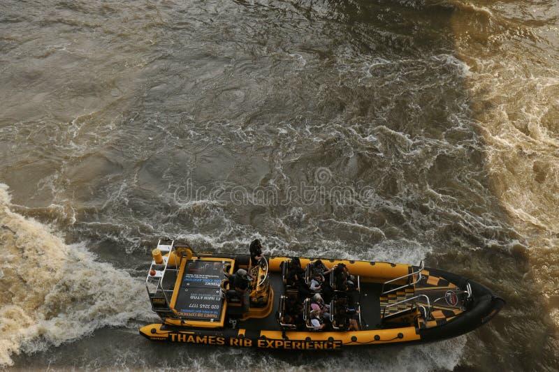 Lancha de carreras rápida de Rib Experience del Támesis vista del puente de la torre en Londres imágenes de archivo libres de regalías