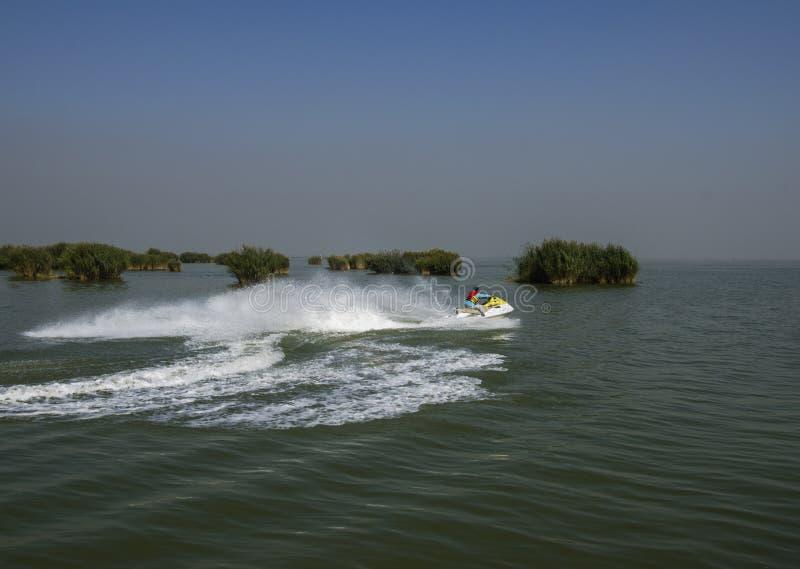 Lanchas, barcos a motor no lago imagens de stock royalty free