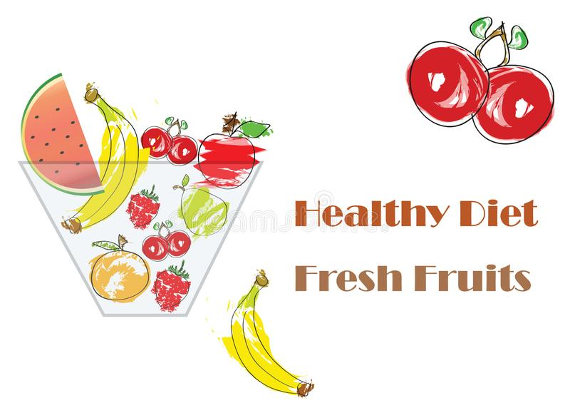 Lanci con il vettore di frutta fresca - concetto di dieta sana illustrazione vettoriale