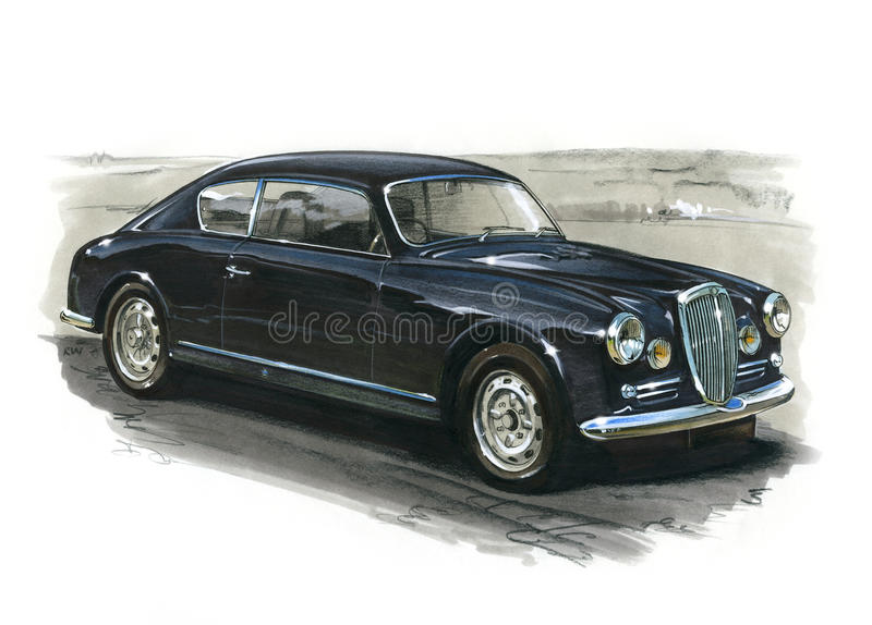 Lancia Aurelia Coupe 1953 vector illustratie