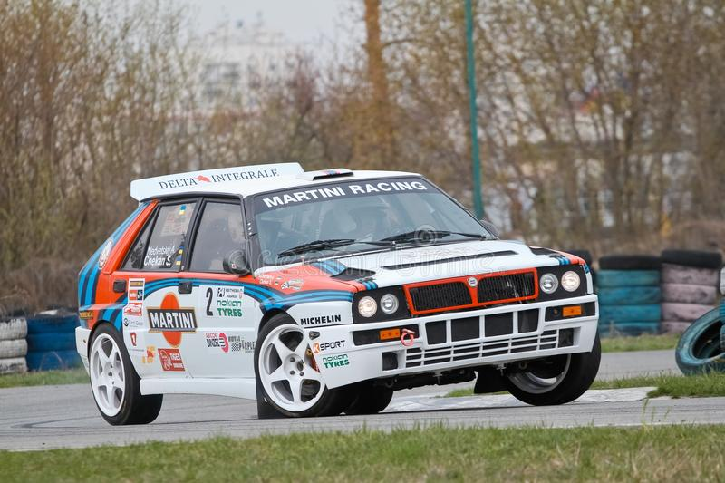 Lancia Delta Integrale, Italian sports car racing at Chayka motor racing circuit, Kyiv Ukraine, 09.04.2016, editorial photo royalty free stock photo
