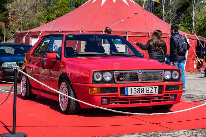 Lancia deltaHF Integrale EVO II i montjuic show för bil för andeBarcelona strömkrets arkivbilder
