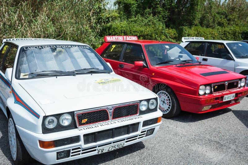 Lancia delty wiecu rocznika samochody obraz royalty free