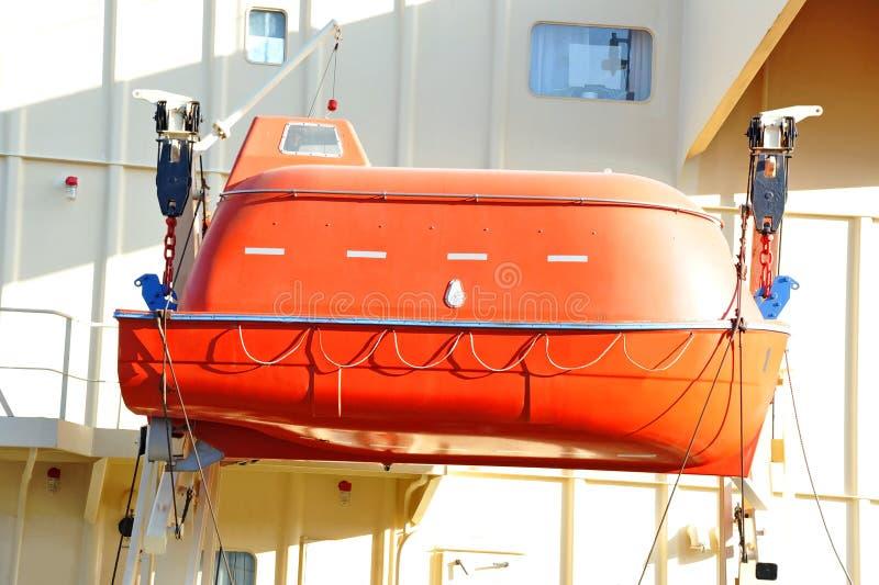 Lancia di salvataggio di sicurezza sulla piattaforma della nave immagine stock libera da diritti