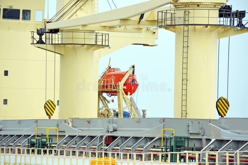Lancia di salvataggio di sicurezza sulla piattaforma della nave immagini stock