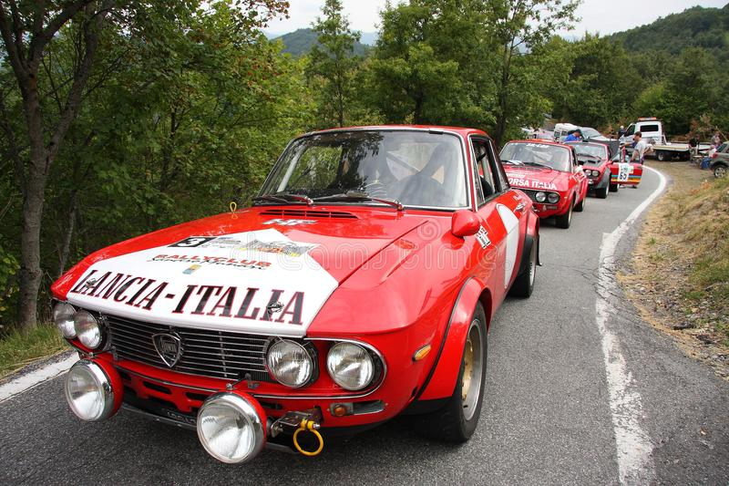 `Lancia Fulvia HF 1600`. At a rallying in Rondanina, a country in the Genoa mountain range stock images