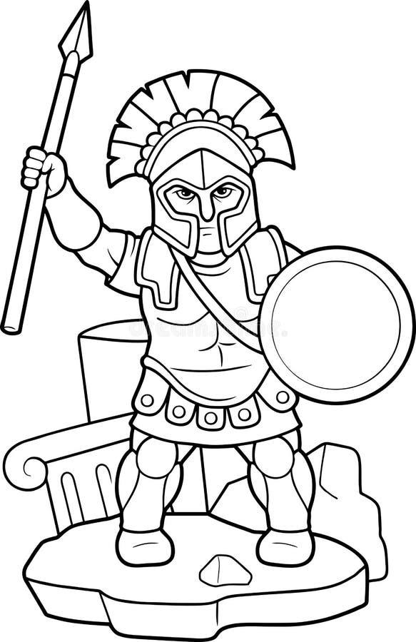 Lancia spartana in sua mano royalty illustrazione gratis