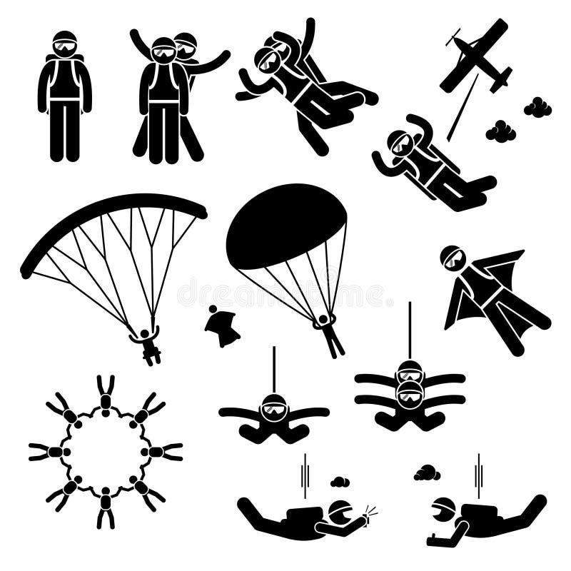Lanciar in caduta liberasi si lancia in caduta libera il clipart di Wingsuit del paracadute del paracadutista illustrazione di stock