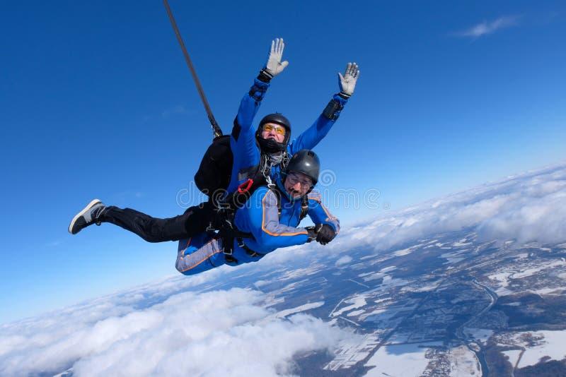 Lanciar in caduta liberasi in tandem Due tipi sono nel cielo blu immagini stock libere da diritti