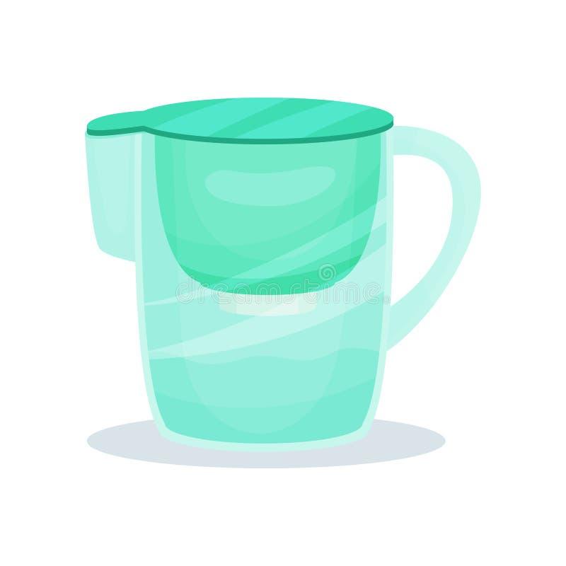 Lanciatore del filtrante di acqua con la maniglia Brocca di vetro per il liquido di purificazione Vettore piano per la pubblicità illustrazione di stock