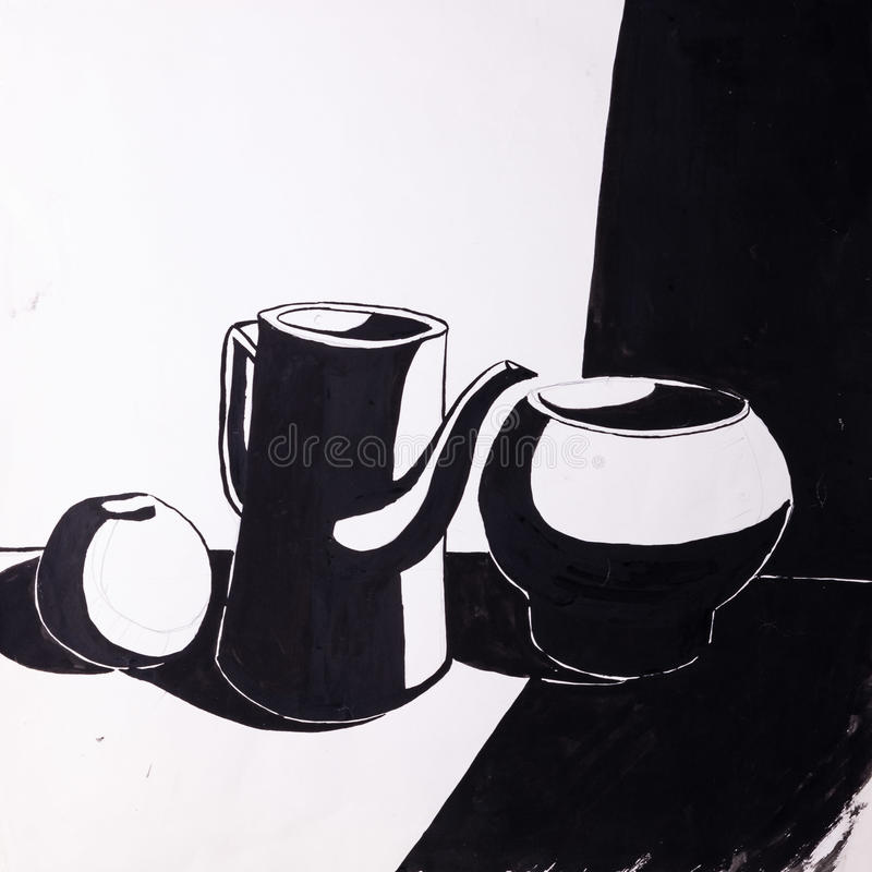 Lanciatori e mela dipinti con una spazzola fotografia stock libera da diritti