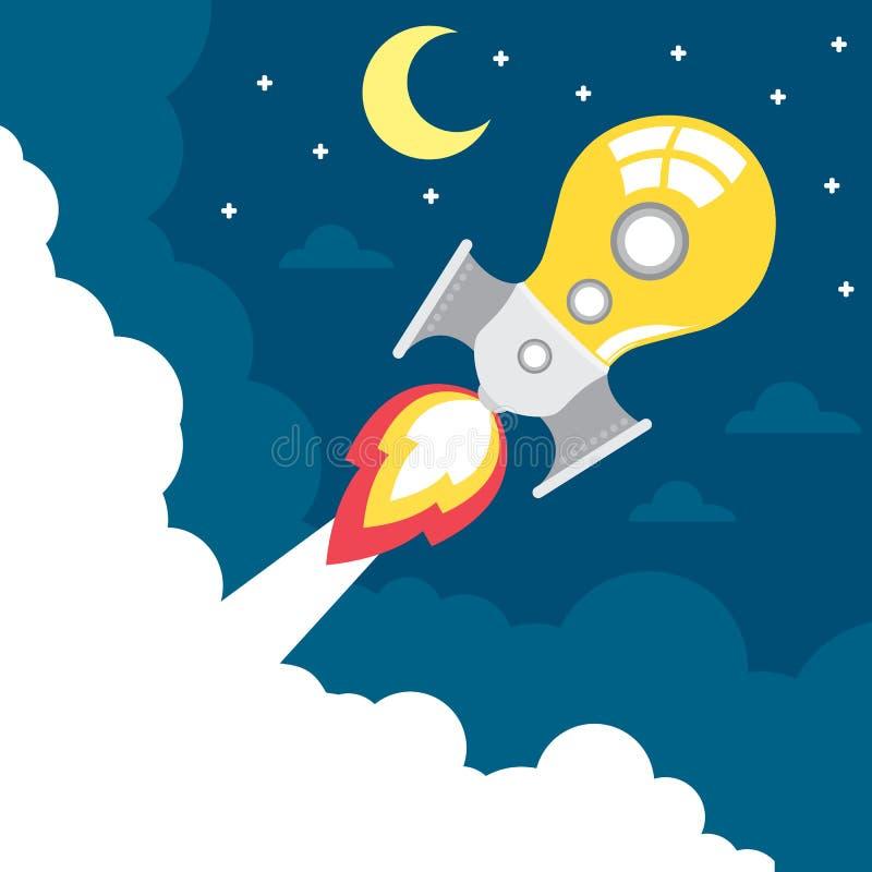 Lancio del razzo di idea illustrazione di stock