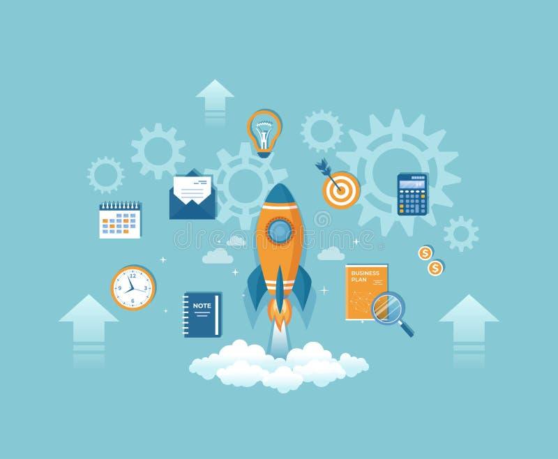 Lancio del razzo di partenza con il business plan, soldi, calendario, calcolatore Realizzazione della gestione di strategia di id illustrazione vettoriale