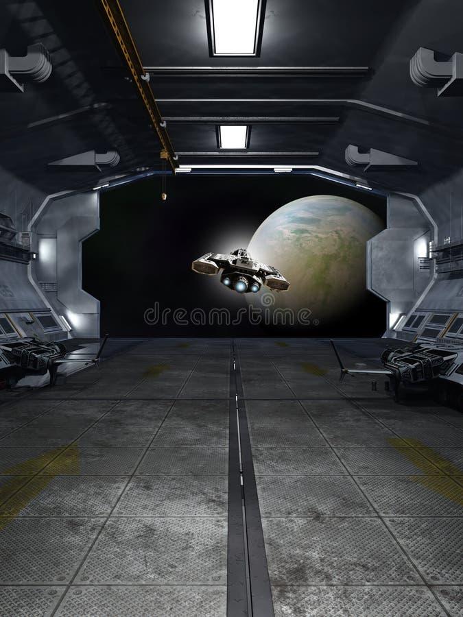 Lancio dell'astronave da una stazione spaziale interstellare illustrazione di stock