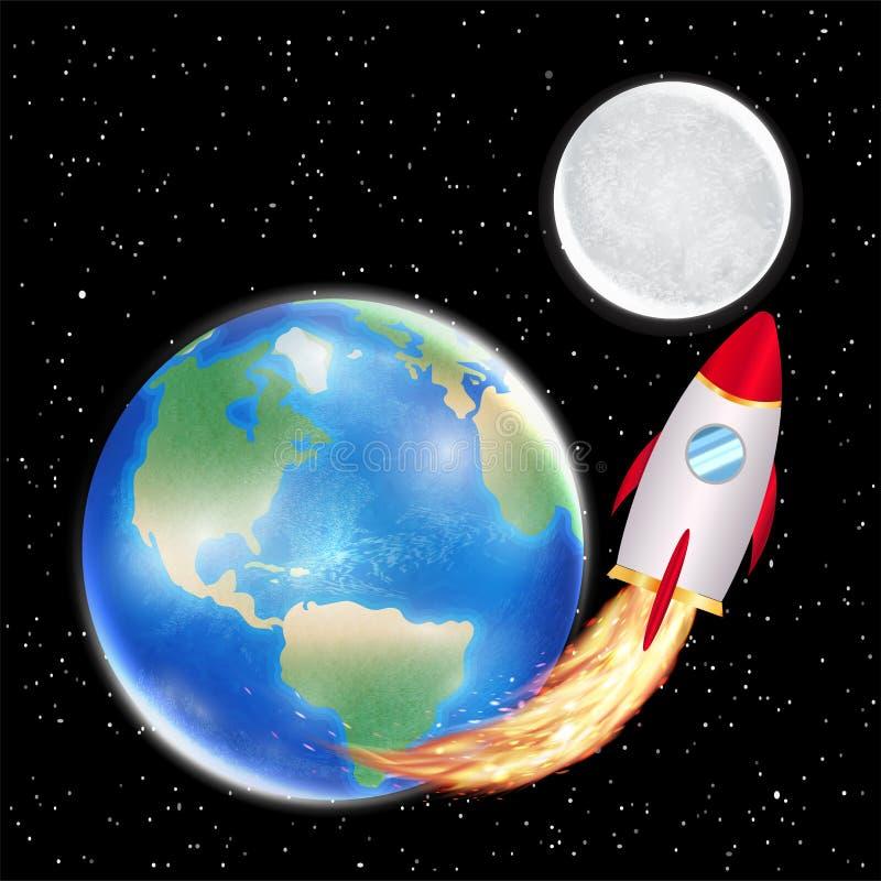 Lancio di razzo dello spazio dalla terra alla luna illustrazione vettoriale