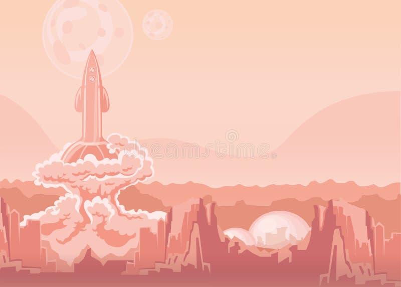 Lancio di Rocket Space Ship Illustrazione di vettore illustrazione vettoriale