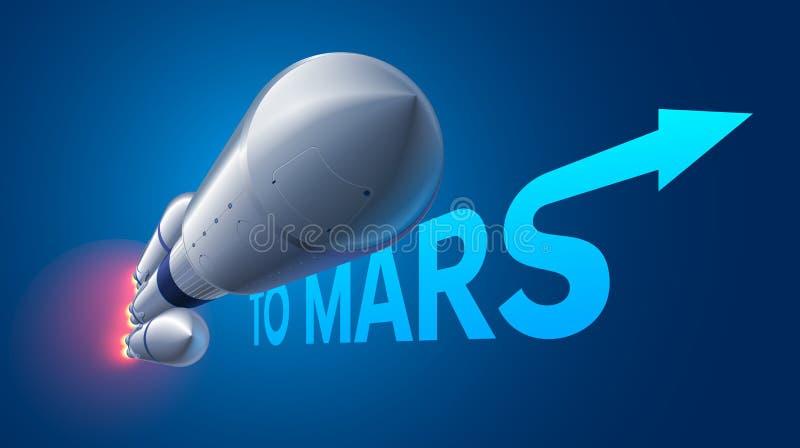 Lancio pesante del razzo di spazio a Marte Missione a Marte illustrazione vettoriale