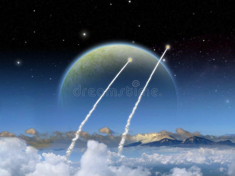 Lancio straniero del razzo di scena dello spazio di fantasia del pianeta royalty illustrazione gratis